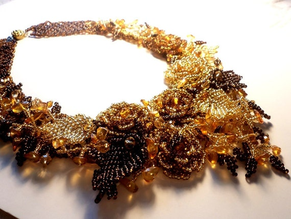 Breath of Autumn - Bedwork Necklace. Seed Bead Flower Necklace.