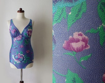 Vintage Swimsuit - Floral Swimsuit from the 1970's - One Piece - Size M