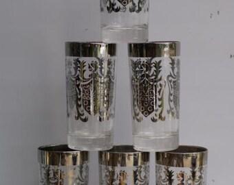 SALE Kimiko Glasses. Mid Century Barware. Madmen Inspired. Silver Drinking Glasses. Chrome Bar. Shield Detail
