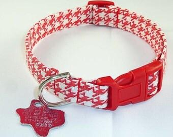 Red Herringbone - Dog Collar - Adjustable