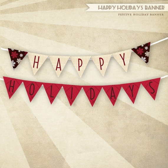 Items similar to PRINTABLE Happy Holidays Banner (Holiday ...