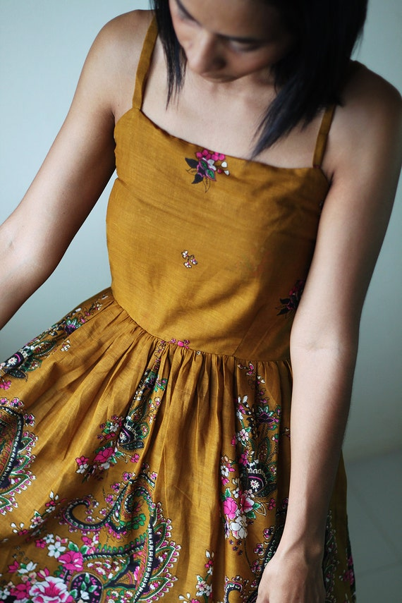 Short Summer Dress - Paisley smock dress