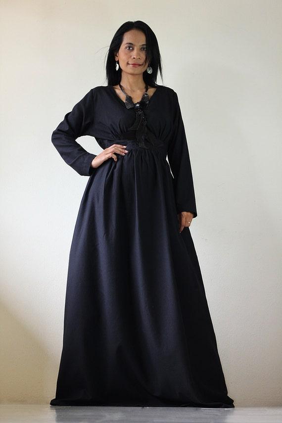 Long Maxi Dress - Black Long Sleeve dress : Feel Good Collection