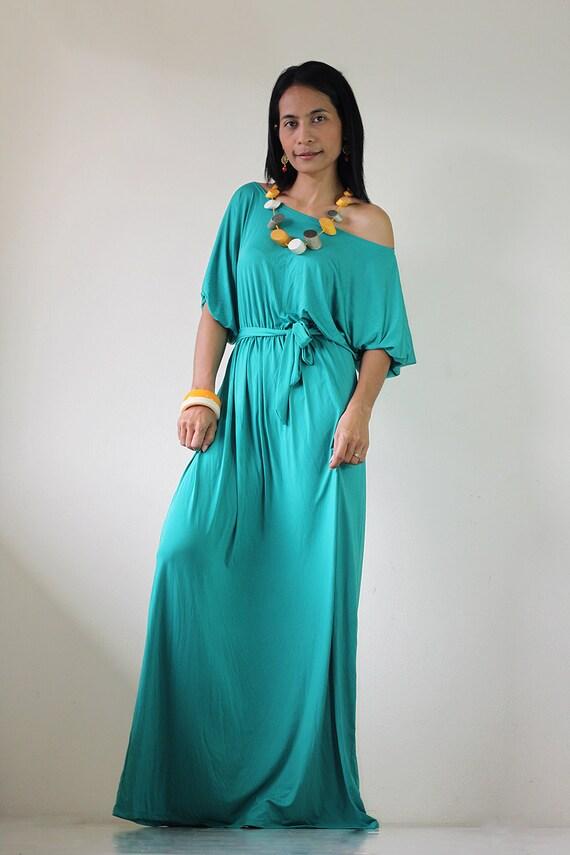 Womens Maxi Dress - Long Kimono Green Maxi Dress