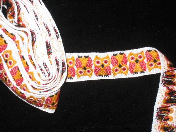 Vintage  White Backing with Yellow and Red  Embroidered  Owl Trim