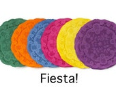5 de Mayo Colored paper doilies Fiesta hand dyed Round paper doilies 35 pieces. 4 inch small gift wrap Papel Picado | Lace Paper Doilies