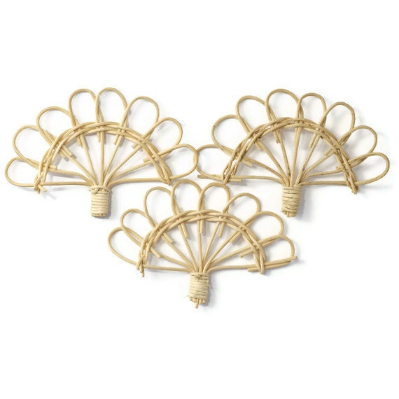 Natural wicker fans . supplies for party favor making . scrapbook embellishments . set of 12 . small