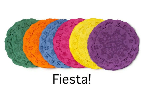 de Mayo Colored paper doilies Fiesta hand dyed Round paper doilies ...