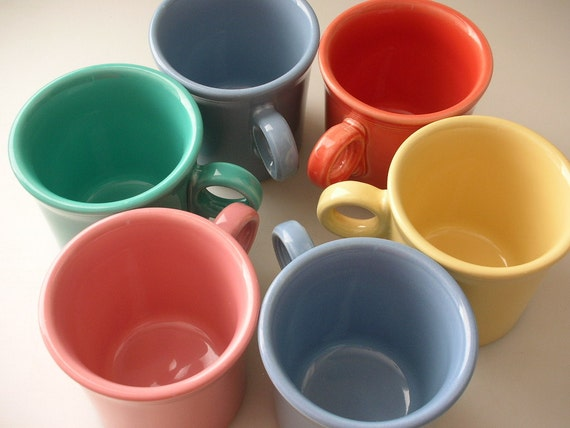 6 Fiesta Mugs Assorted Colors FiestaWare Tom & Jerry Mugs SET of 6 Coffee Tea Mugs from The Back Part of the Basement