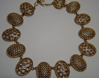 CHRISTIAN DIOR  Pierced Gilt Necklace