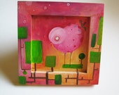 Chicken on tree, bird painting, original painting, acrylic on wood, kid nursery room decor,free shipping