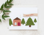 Cozy Cabin - 3D Handmade Holiday/Christmas Card - AnastasiaMarieShop