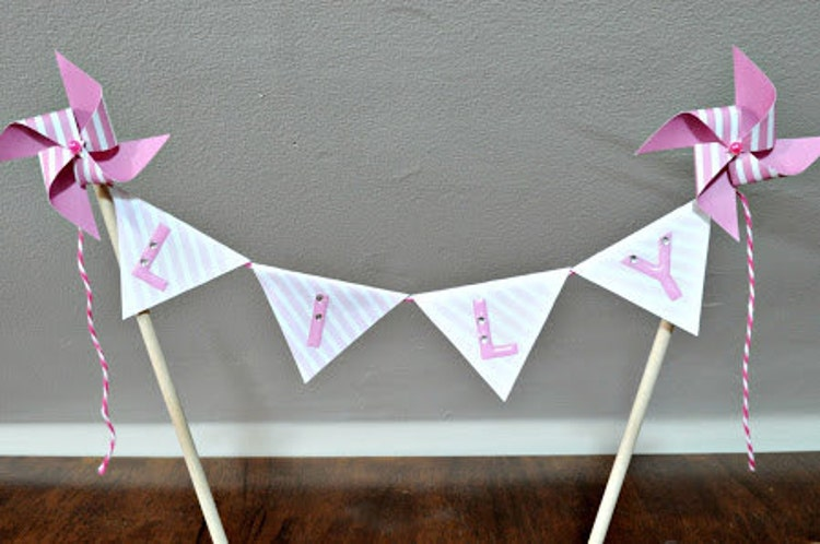 Pinwheel Cake Topper Personalized Flag Banner By Msapple