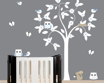 Nursery wall decal white tree wall decal - 068