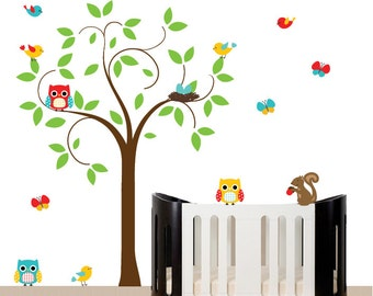 Nursery decal tree set - baby wall decal tree wall sticker