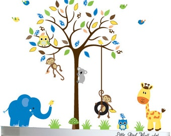 Wall decal tree owl nursery jungle baby wall sticker - 021