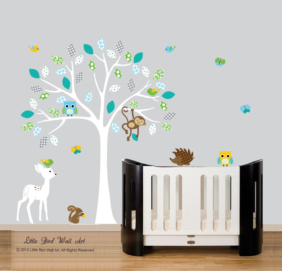 Childrens blanc sticker mural arbre mur decal hibou bleu for Decalque mural