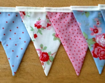 Shabby Chic Fabric Bunting made from Cath Kidston Rosali Fabric