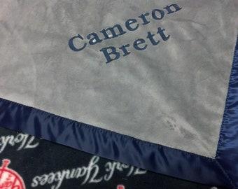 Personalized New York Yankees Baseball Fleece and Minky Baby Blanket