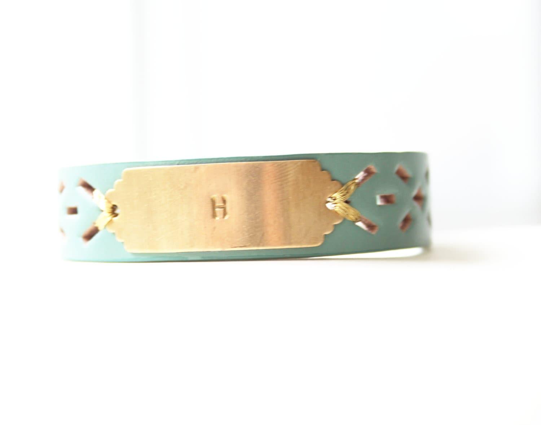 Personalized Bracelet, Monogram Leather Bracelet, Custom Initial Bracelet, Aqua Blue, Personalized Jewelry ID Bracelet, Custom Name Bracelet