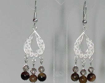 Natural Tourmaline 925 sterling silver chandalier earrings (#204)