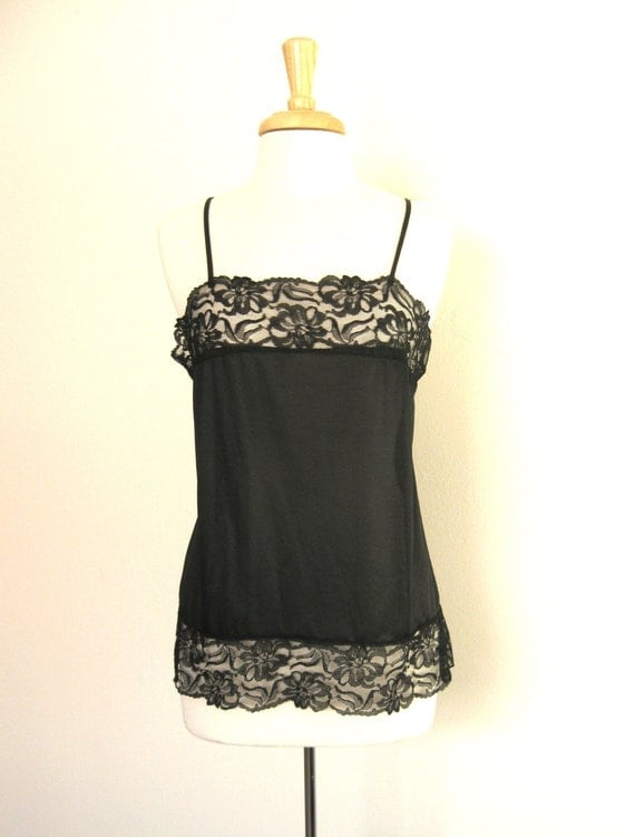 Vintage Black Lace Camisole 1970s Size Medium