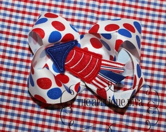 4th of July Rocket with Ribbon Hair Bow Center Embroidery Design Machine Applique