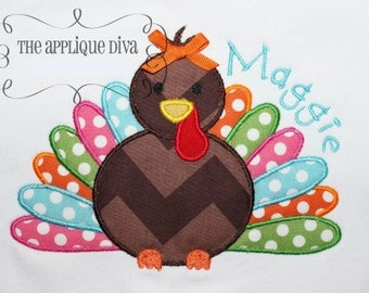 Fall Thanksgiving Turkey Digital Embroidery Design Machine Applique