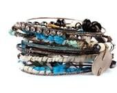 Gypsy Bangle Stack Bracelets- Blue Green Mermaid colors,  Tribal Belly Dance, Summer festivals Bohemian patina Bone beads