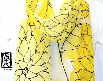 Yellow Silk Scarf Handmade. Sunny Yellow Floral Scarf. Black Line Drawing. Silk Chiffon. 10x54 in. Made to order.