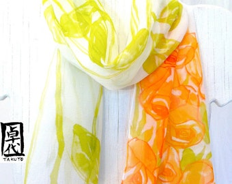 Silk Summer Scarf, Floral Scarf Silk, Chiffon Scarf, Orange & Olive green Roses Scarf, Takuyo, Hand Painted Silk Scarf, Made to Order.
