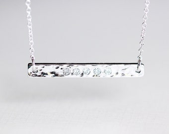 Sideways Sterling Silver Bar Necklace- side silver long skinny bar with rhinestone cz, chic simple everyday jewelry