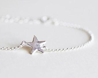 Star Bracelet - sterling silver wish star bracelet, friendship, mother and daughter, sisters bracele