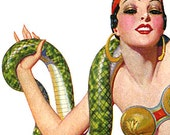 Circus Women Snake Charmer Belly Dancer Jungle Girl Side Show Performers - Digital Images - 6 Vintage Illustrations