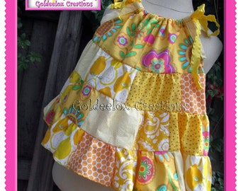 Girls Patchwork Twirl Dress , Colorful Twirly Dress - Design your own