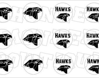 Hawks black and white bottlecap image sheet -  high school mascot