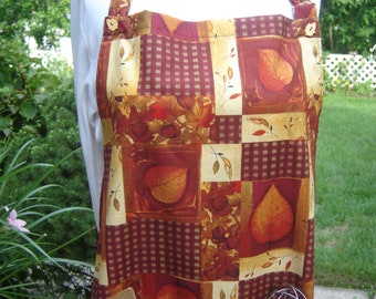 Autumn fall women's full apron, Thanksgiving apron, fall colors rust orange tan brown, acorns/leaves size 16XL flexible sizing, leaf buttons