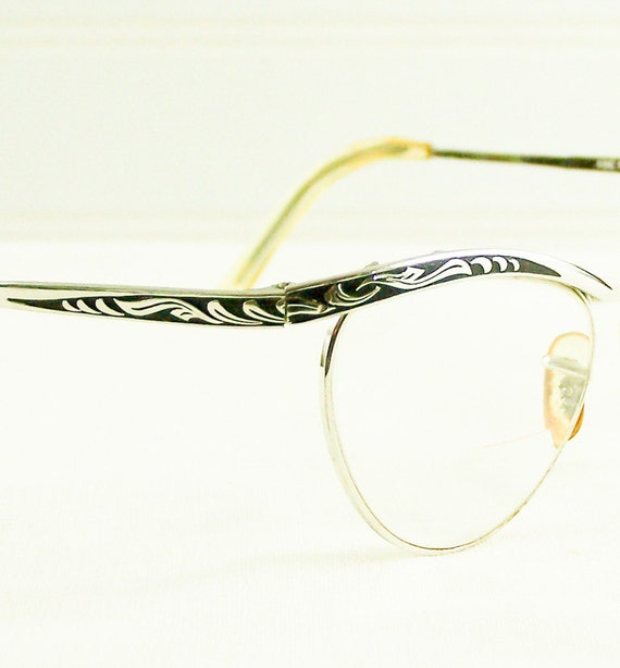 Vintage Cat Eye Glasses 1950s Silver with Black Accents