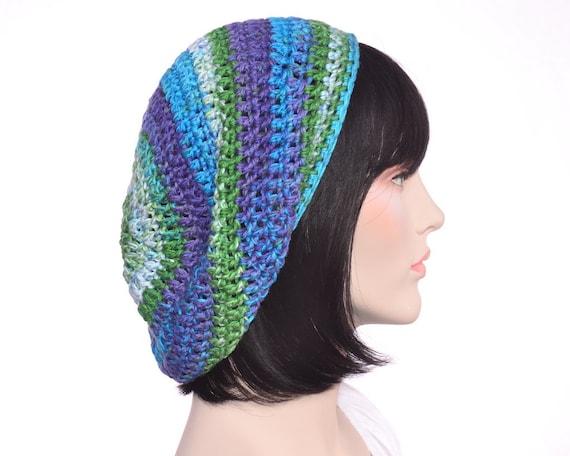 Hippie Slouchy Beanie Hat Beret Peacock Lightweight Men Women Vegan Dread Tam Art Artist Hat
