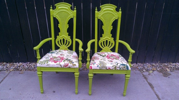 Two Lime and Floral Chairs