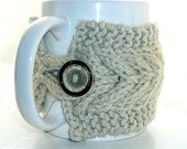 Cup Cozy Cream White Mug Cosy Coffee Cozy Sleeve Tea Cup Cover Wood Wooden Toggle Button Kitchen Farm Country