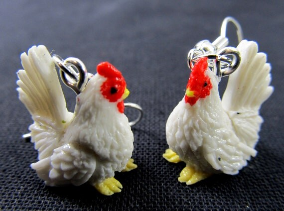 Chicken Earrings Miniblings Easter Egg Farm Chicks Rooster