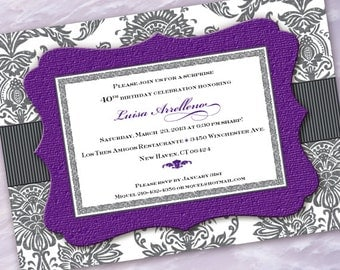 purple and gray damask bridal shower invitation, purple and gray damask party invitation, gray damask and hyacinth invitation, IN359