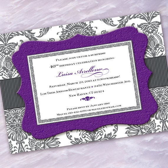 bridal shower invitation, purple bridal shower invitation, hyacinth bridal shower invitation, purple and gray bride, silver bride, IN359