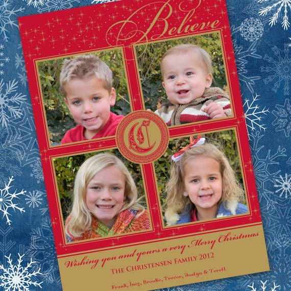 Christmas cards, gold Christmas cards, red and gold Christmas card, monogram Christmas card, gold sparkly card, 4 photo card, CC026