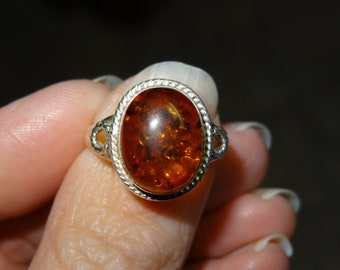 LARGE Amber ring in sterling silver Great gift  TOTALLY RETRO