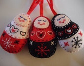 Russian Doll Christmas Tree Decorations - Set of Three  Red, Black and White