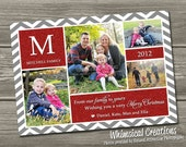 Photo Christmas Card, Holiday Card - Chevron Holiday Card (Digital File) I Design, You Print - WhimsicalCreationsPC