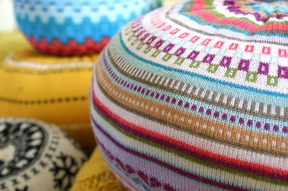 MEDIUM upcycled sweater pouf,pillow, scatter cushion, fixed cover, Fair Isle multi stripe aqua, white, red, coral, purple