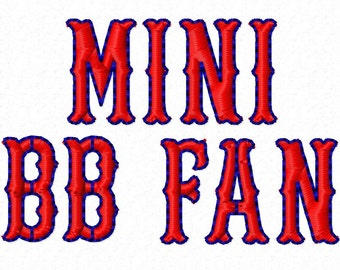Mini BB Fan - Machine Embroidery Font - Sizes .5in. (half inch) BUY 2 get 1 FREE - Mini Fonts